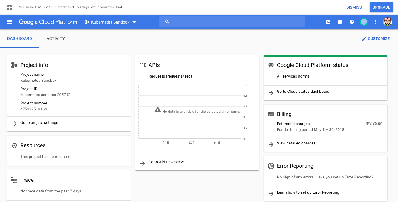 (Caption) Google Cloud Platform dashboard, with the correct project selected in top left corner.