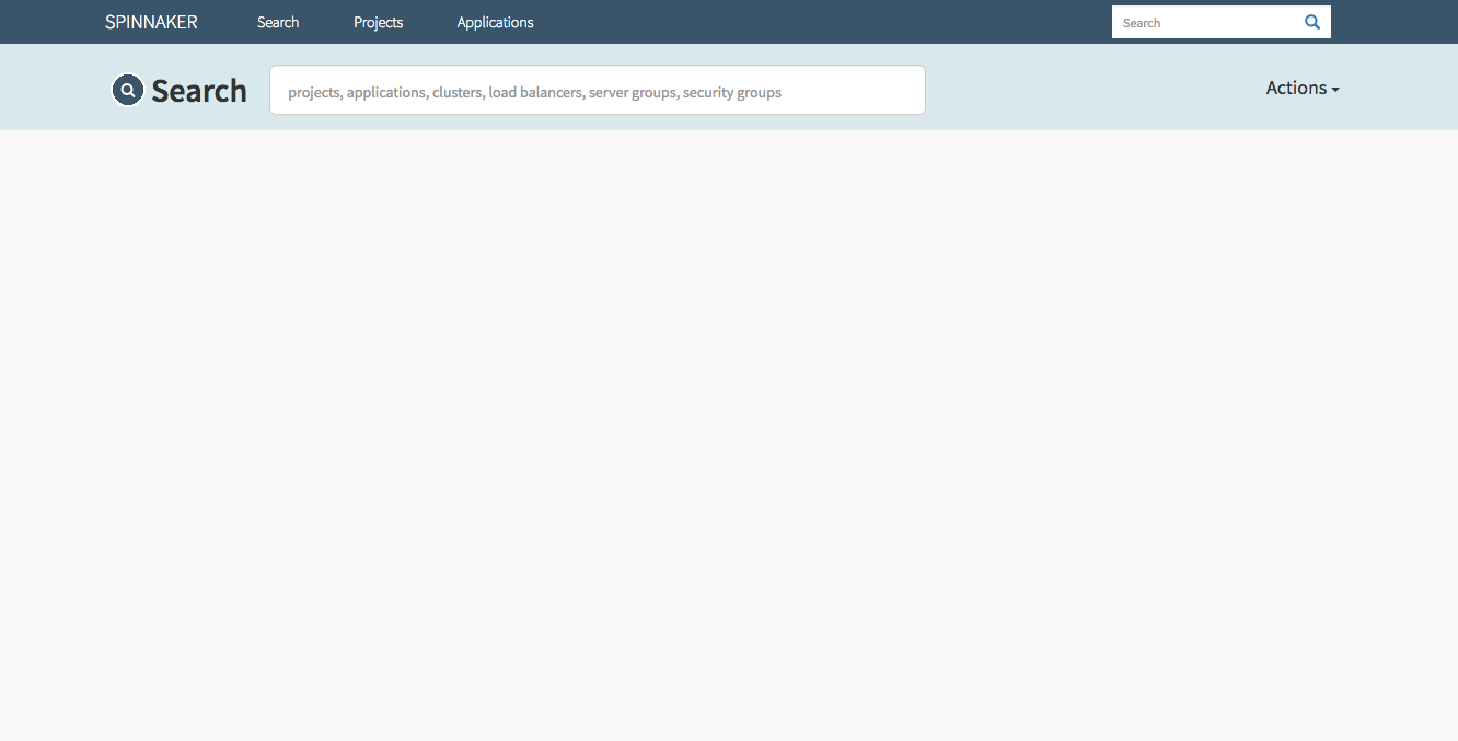 (Caption) Spinnaker's dashboard, empty for now. That'll change quite soon.